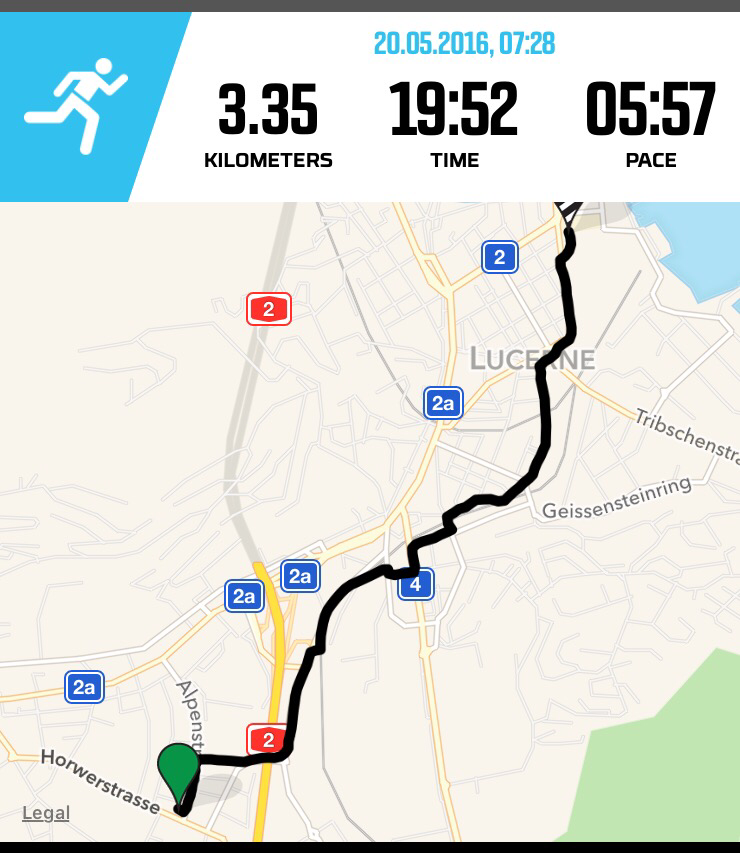 Run Kriens to Luzern Bhf